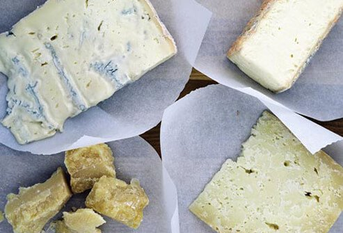 An assortment of cheeses.
