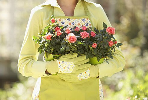 Photo of woman holding flowers.