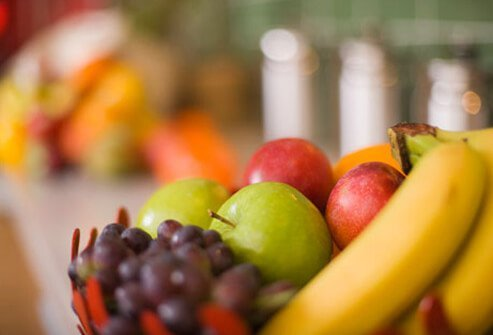 Banana, Grapes, and Apples.