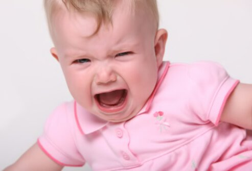 An infant crying.