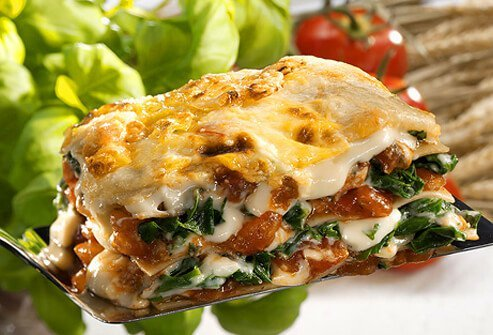 A serving of vegetarian lasagna.