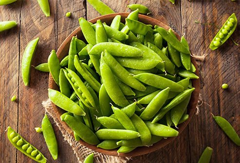 Sugar snap peas are a good source of vegetable protein.