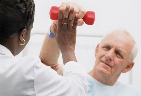 A stroke victim doing physical therapy.