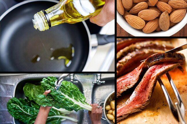 Vitamin E is an antioxidant that is found in almonds, olive oil, meat, and other foods.