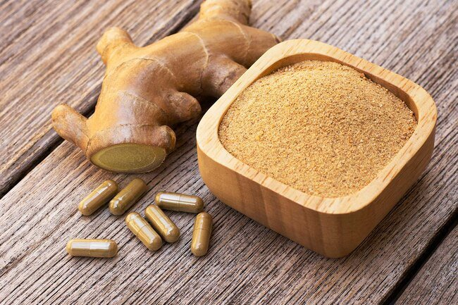 Ginger has anti-inflammatory compounds that work similarly to ibuprofen.