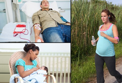 A patient receives a blood transfusion in the hospital (top left). A mother breastfeeds her baby (bottom left). A pregnant woman runs along a wilderness trail (right).