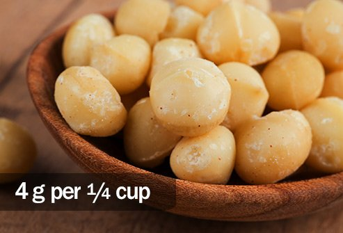 A quarter cup of macadamia nuts has 4 times as much fat as a dinner serving of pork tenderloin.