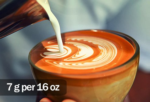 Even small sizes of caffe latte have more saturated fat than a small order of French fries.