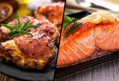 Are chicken thighs or salmon filets lower in saturated fat?
