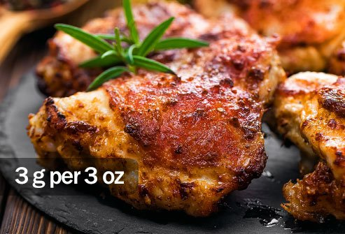 If you eat chicken, opt for skinless chicken breasts to keep your saturated fat intake low.