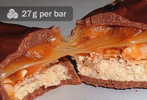 There is plenty of sugar in both, but a regular-size bar with chocolate, nuts, and caramel has about double the sugar of a typical granola bar per gram.