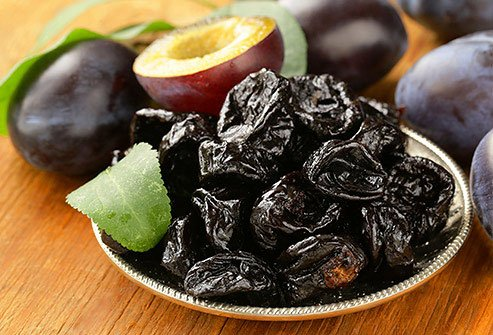 Prunes are high in potassium and fiber.