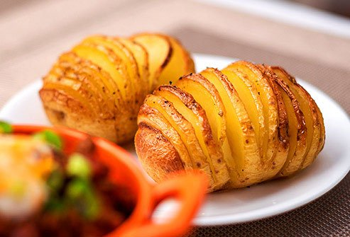 Baked potatoes with the skin are an excellent source of potassium.