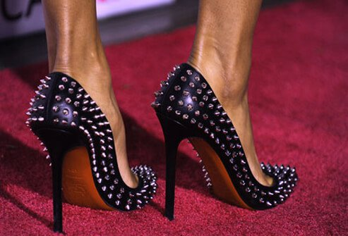 Photo of spiked ultra-high heels.
