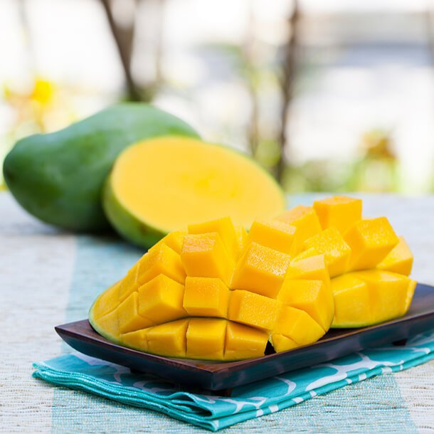 Pieces of mangoes