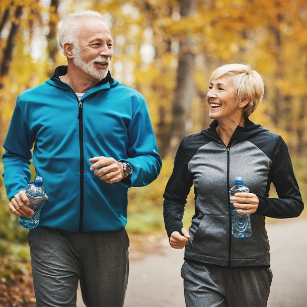 There are many health benefits of walking as exercise. These include increased cardiovascular fitness, increased lung fitness, lower blood pressure, lower cholesterol, stronger bones, improved balance, reduced body fat, lower body mass index (BMI), increased muscle strength and endurance, lower fasting blood sugar (glucose), better memory and cognitive function, lower stress, improved mood, reduced risk of serious medical conditions, and longer life.