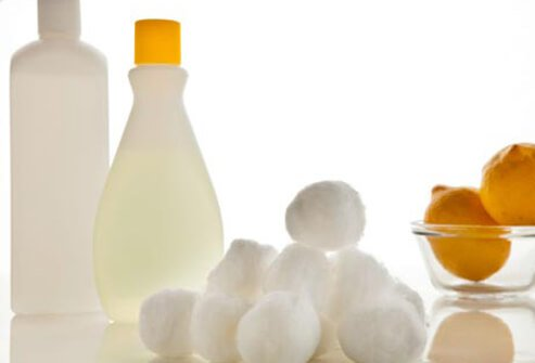Photo of cotton balls and acetone.